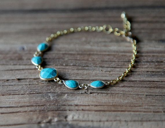 Turquoise and gold plated chain bracelet