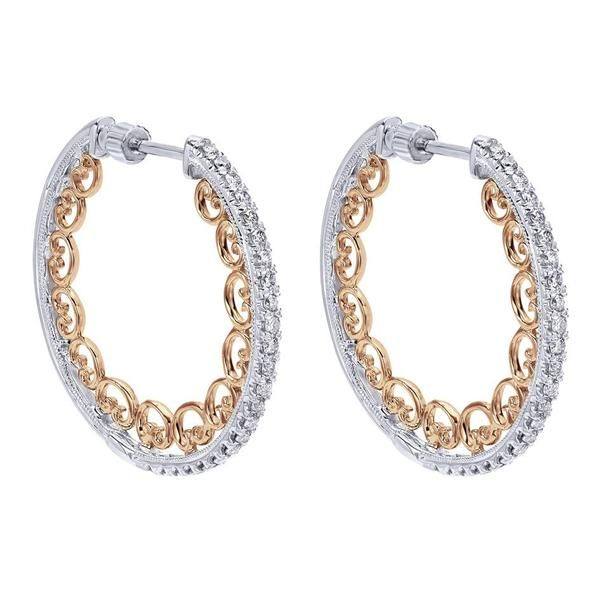 Unique white and rose gold diamond hoop earrings by Gabriel NY