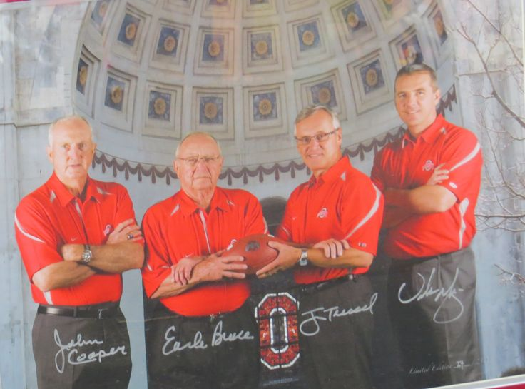 The Ohio State University Football Coaches: John Cooper, Earl Bruce, Jim Tressel and Urban Meyer.