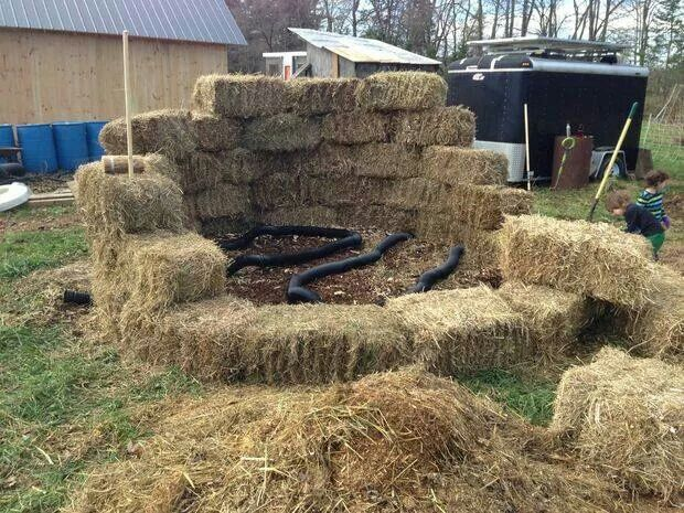 Composting heating system