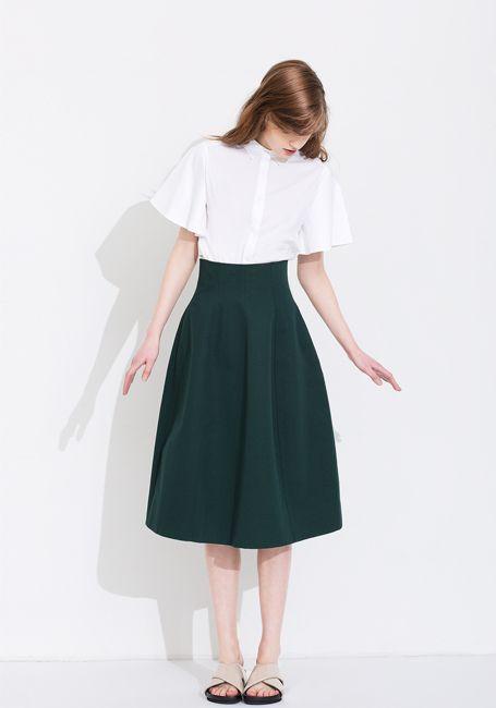 Le Ciel Bleu Ruffle sleeve shirt and cotton linen flared skirt