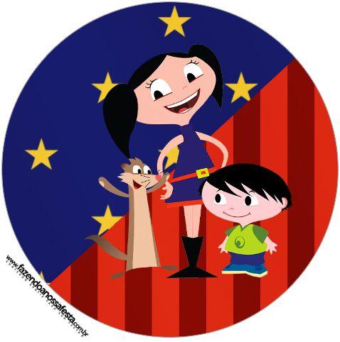 Latinha, Toppers e Tubetes Show da Luna Azul e Vermelho