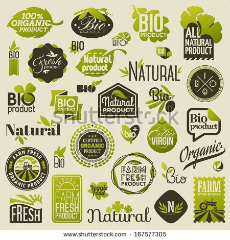 Natural organic product labels, emblems and badges. Set of design elements by ussr, via Shutterstock