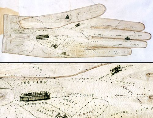 Glove map of LondonGeorge Shove, British  1851 Printed map on leather  fieldmuseum.org