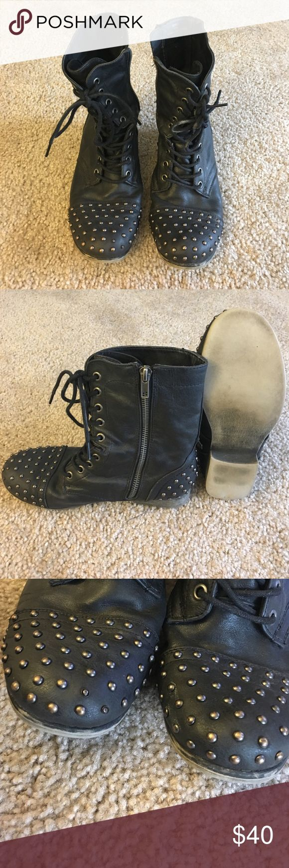 Madden Girl studded lace up combat boots Black lace up, studded, combat boots Madden Girl Shoes Combat & Moto Boots