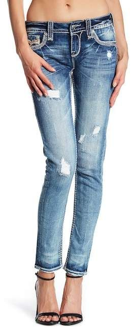 Rock Revival Fleur Rhinestone Accented Skinny Jeans