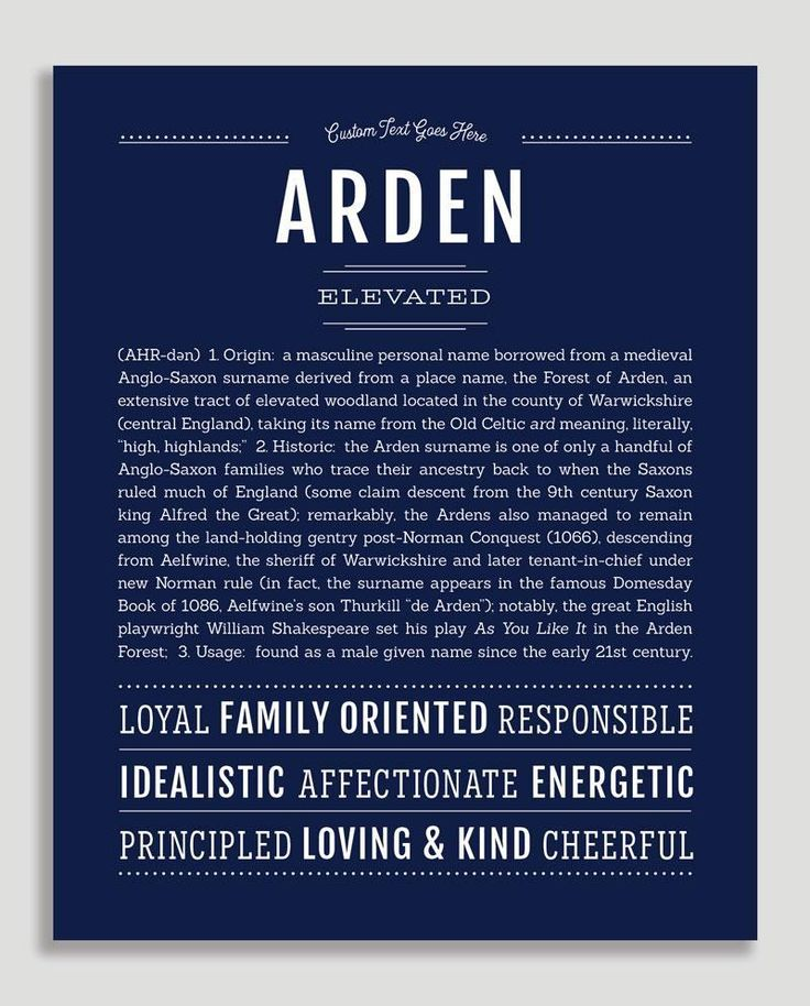 Arden (male) | Classic Name Print in 2020 | Classic names ...