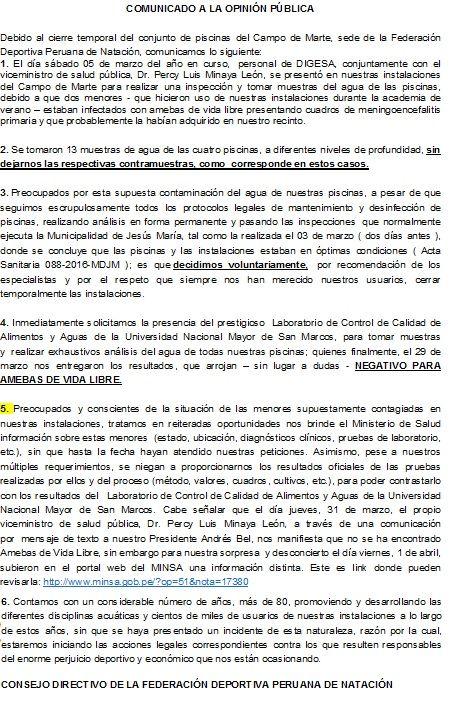 holaesungusto: COMUNICADO DE LA FEDERACIÓN PERUANA DE NATACIÓN SOBRE CIERRE TEMPORAL DE PISCINAS DEL CAMPO DE MARTE