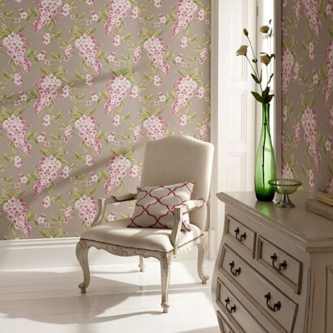 Wisteria wallpaper from the Showstoppers collection by Clarke & Clarke.  Available in 6 colours).  Wallpapershop.com.au