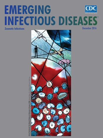 The December issue of EID, Zoonotic Infections, online now. In a commissioned stained-glass piece, artist Jenny Hammond used microscopic details essential to the natural history of influenza A. Stained-glass has been appreciated for more than 1,000 years, and this work of art reminds us that influenza A viruses-- easily spread between animals and human, use various host species, and exist in many different environments—remain an enduring and global health concern.