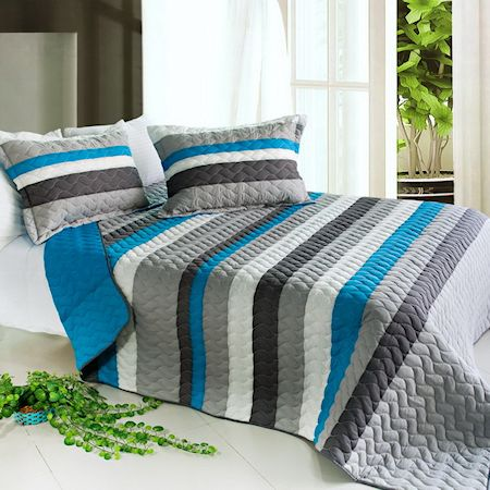 Blue U0026 Grey Striped Teen Boy Bedding Black White Stripe Quilt Set Oversized  Bedspread #kidsroomstore