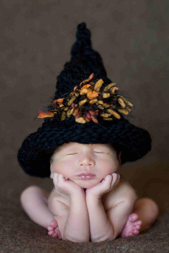 Halloween Baby Hat, Black Witch Hat, Newborn Baby Photography Prop