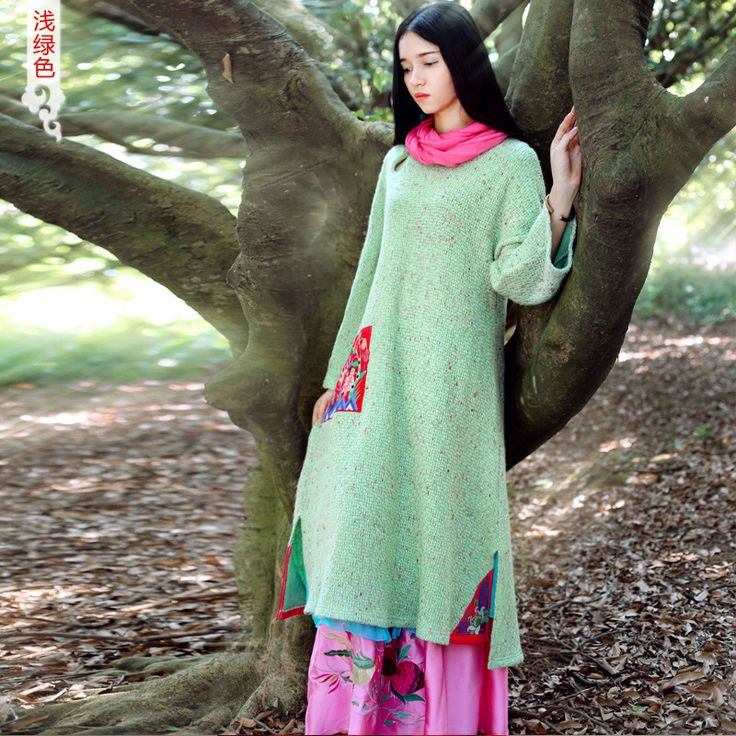 [ LYNETTE'S CHINOISERIE   HZZC ] 2015 Spring New Original Design Women Chinese National Trend Embroidery Loose Knit Robe Dresses-in Dresses from Women's Clothing & Accessories on Aliexpress.com | Alibaba Group