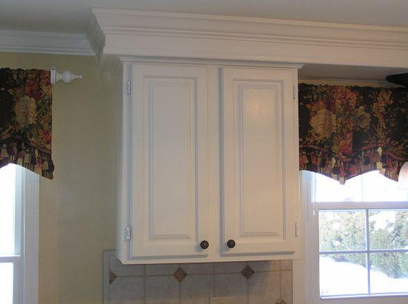 Soffit molding kitchen pinterest moldings kitchen for Bulkhead above kitchen cabinets