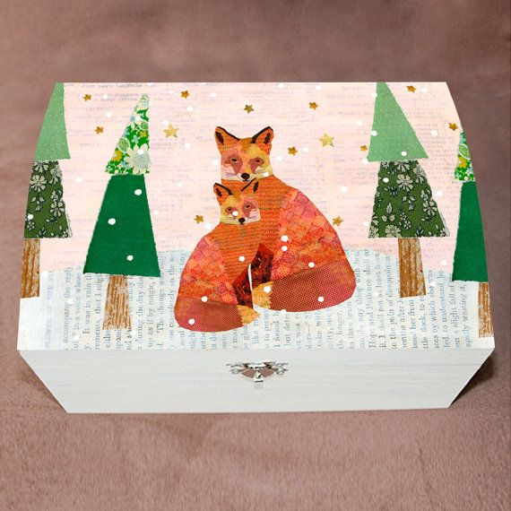 Christmas Snowy Foxes Large Jewelry Box Large Wooden by Sascalia