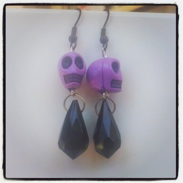 Purple Skull and Bead Earrings $6 Aust. From Rags To Bags on FaceBook.