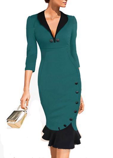 V Neck Button Decorated Sheath Dress