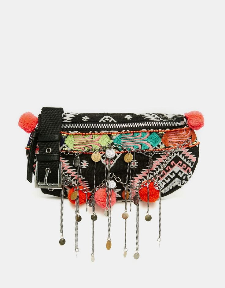 ASOS   ASOS Geo-Tribal Fanny Pack With Poms And Chain Detail at ASOS