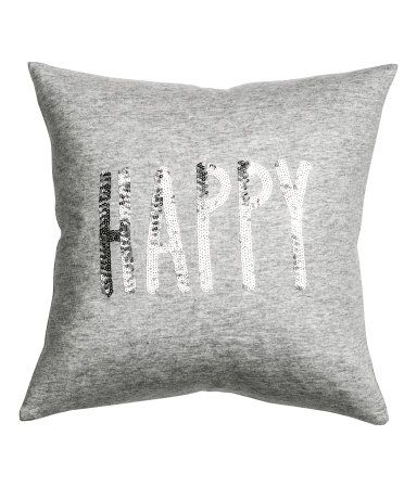 Gray melange/Happy. Jersey cushion cover in a soft cotton blend with a sequined Christmas motif. Concealed zip.