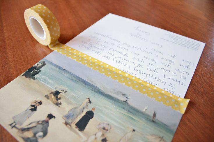 Washi tape bound postcard book.