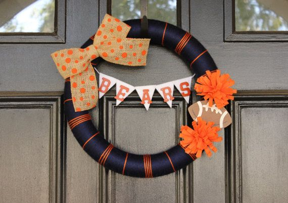 Chicago Bears/Custom Football Team Yarn Wreath by BeautifulTiming