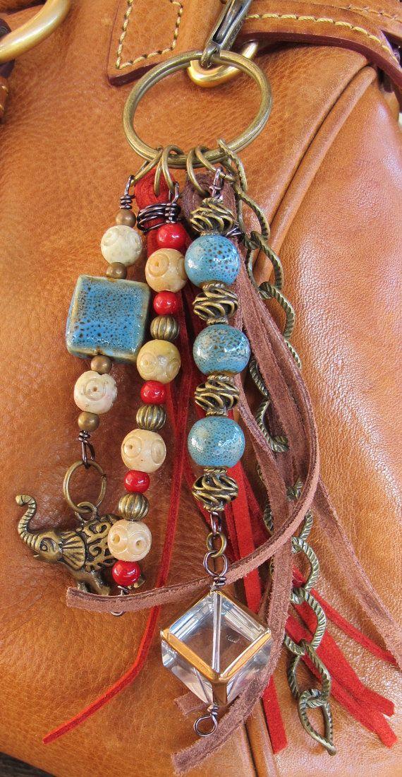 Purse Charm, Charm Tassel, Zipper Pull, Key Chain - #ThePaintedCabeza