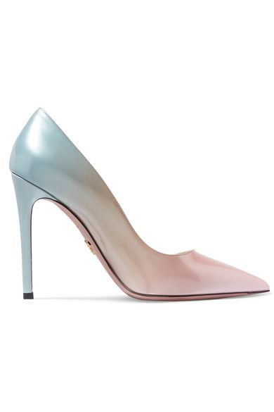 Heel measures approximately 110mm/ 4.5 inches Sky-blue, coral and light-pink patent-leather Slip on Made in Italy