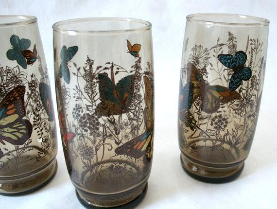 Set Of 3 Vintage Butterfly Drinking Glasses Drinking
