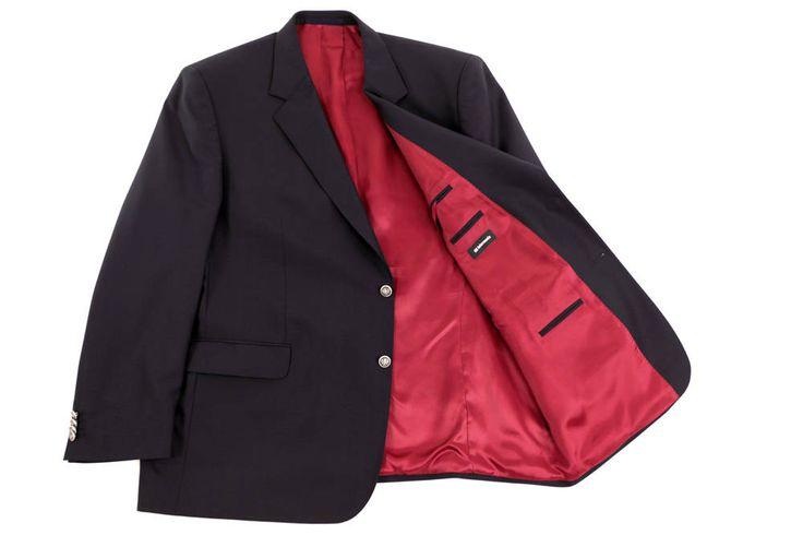 Czarna elegancka marynarka Intermoda III dla Panów o dużych rozmiarach, idealna do spodni wizytowych. Czerwona podszewka, wewnętrzne i zewnętrzne kieszenie. Rozmiary od 3XL do 8XL. Skład: 100% wełna