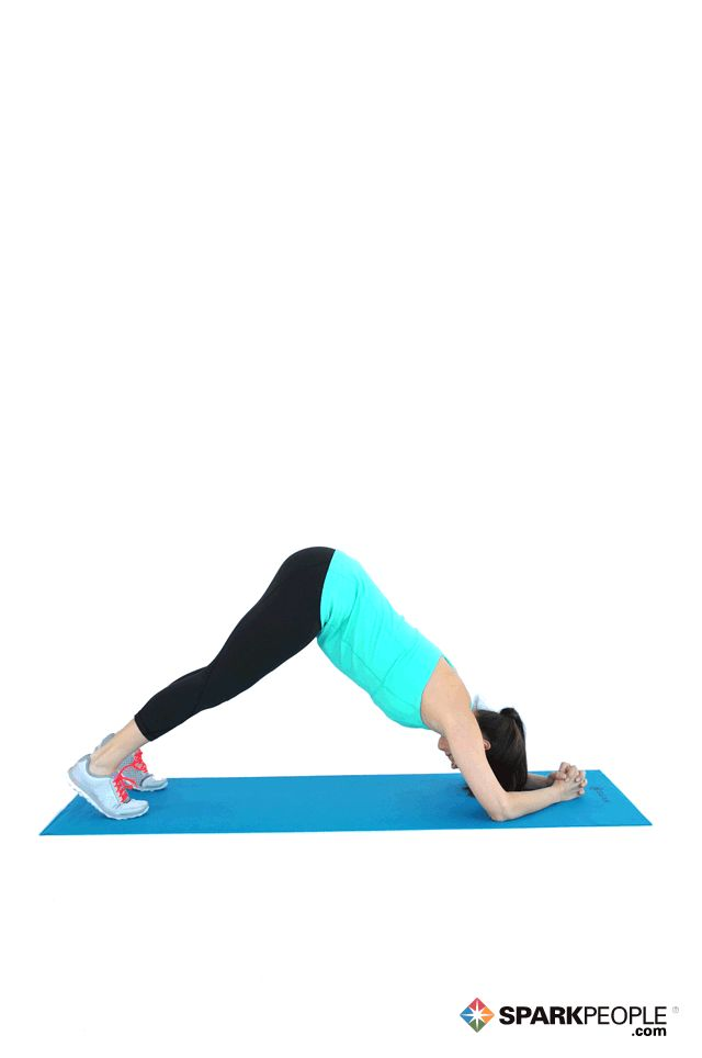 Dolphin Pose Exercise Starting Position Start in an inverted V: forearms on floor, elbows wide, hands clasped, butt lifted, legs straight. Tip head between arms to look at feet.  Action Looking up, press body forward until chin is above hands. Return to start to complete one rep.