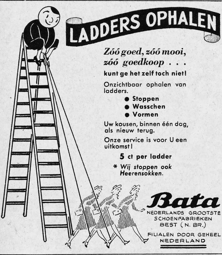 Nostalgie; vervlogen tijden. Ladders in nylon kousen op laten halen, 5 cent per ladder.