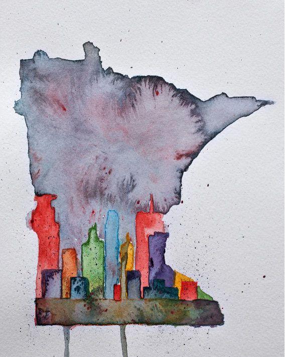 Minneapolis Skyline  Minnesota Outline by LexiRenaeStudios on Etsy