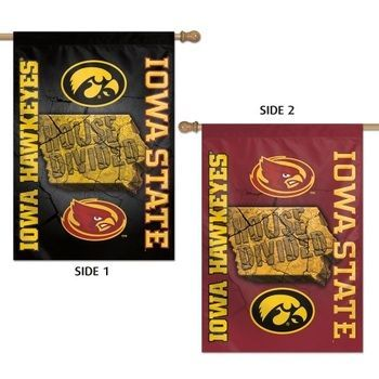 House Divided Flag Iowa vs ISU 2 Sided Designs Vintage