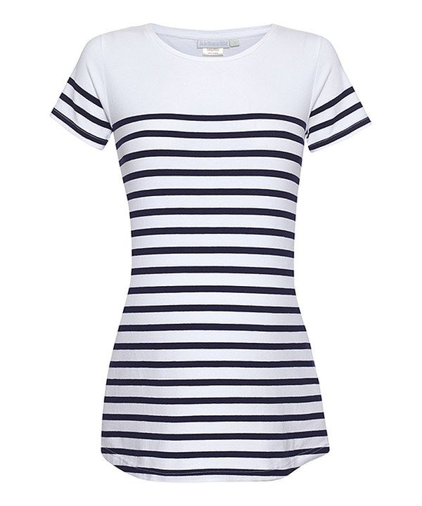 Look at this White Stripe Maternity Short-Sleeve Top on #zulily today!