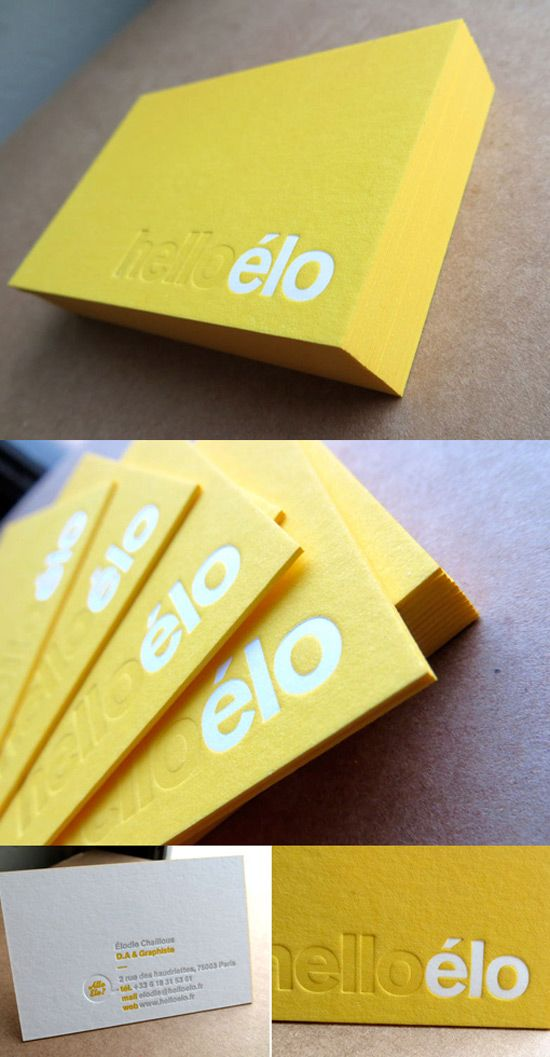 Yellow Letterpress Business Card. This name is so cute & quirky! I love it!