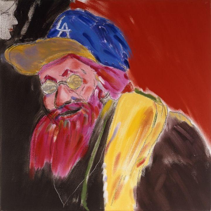 """RB Kitaj, """"Autorretrato de Rembrandt Después Última Autorretrato"""" (2004), óleo sobre lienzo, 24 x 24 pulgadas (cortesía Colección Privada)"""