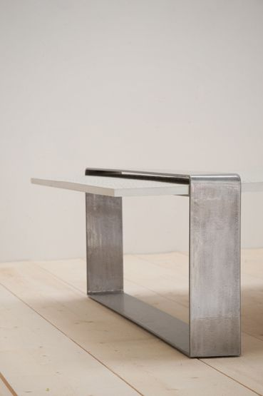 Concrete and steel table.