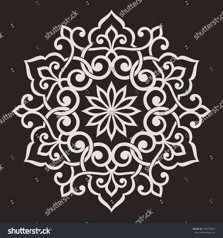 Circular abstract floral pattern. Mandala. Round vector ornament with stylized intertwined branches, flowers  and curls. Arabesque.