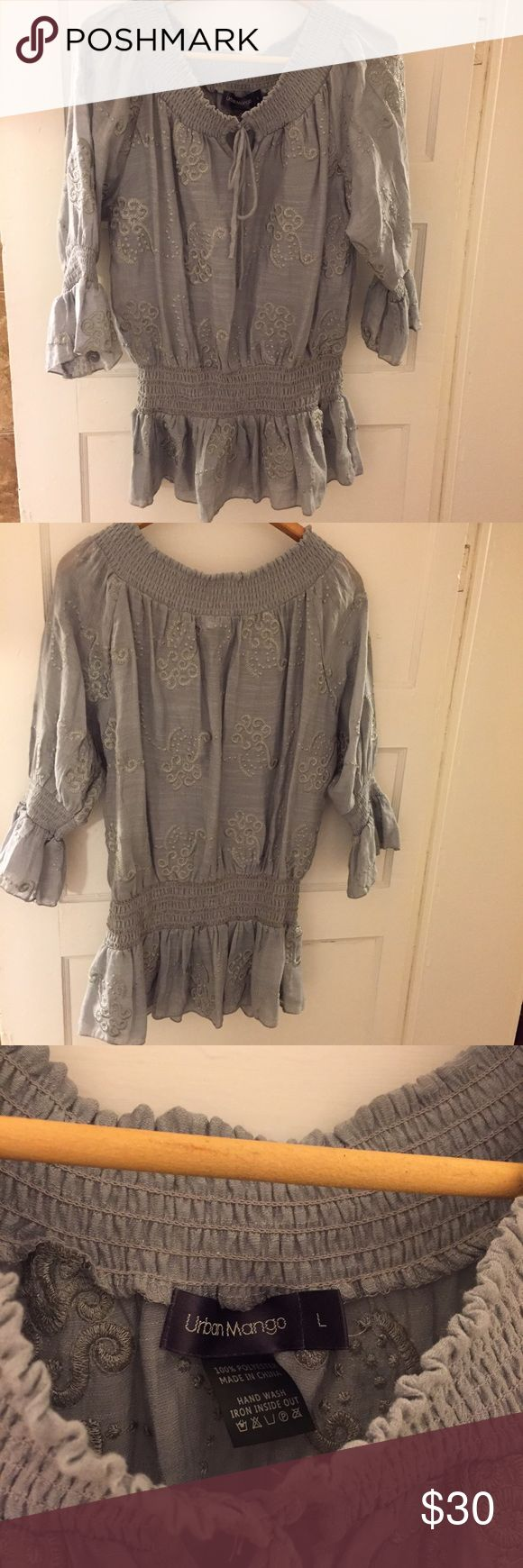 Urban Mango Top NWOT Size L NWOT never worn. Gray color. Size L. Can be worn on or off the shoulders. Urban Mango Tops Blouses