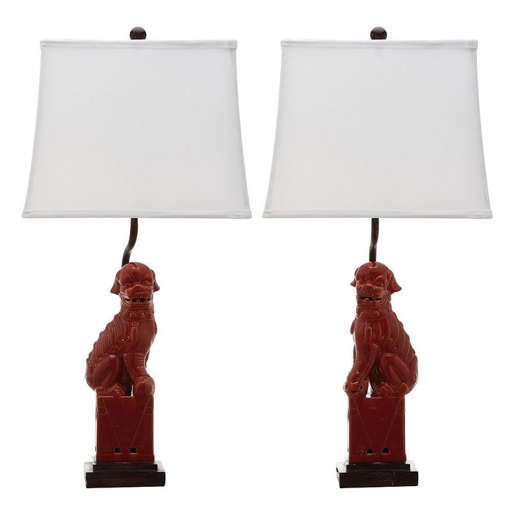 Safavieh 2-piece Foo Dog Table Lamp Set, Red