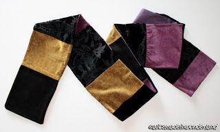 Miss Velluto: Sciarpa in patchwork realizzata con campionature di tessuto.