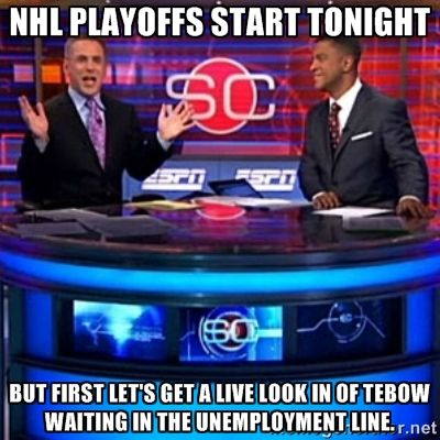 NHL Playoff Memes   ESPN - No respect for hockey for years and all of a sudden this year they can't give out enough hockey love.  Wonder what's up with that?