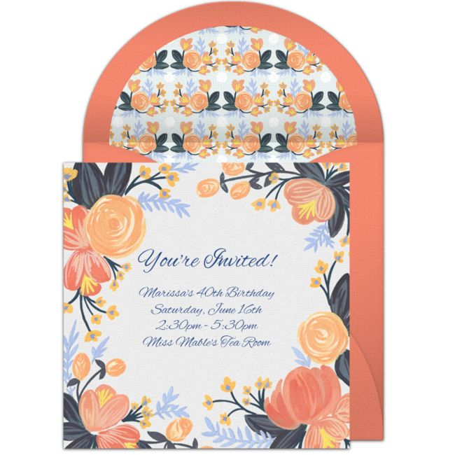 """One of our favorite free birthday party invitations, """"Peach Blossoms."""" Simple and easy to personalize and send via email for a Spring birthday, shower, brunch, and more."""