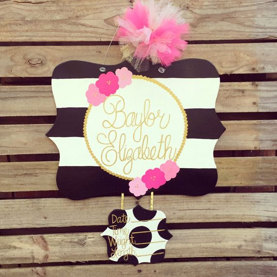 Hospital Door Hanger Baby Door Hanger Birth by KaleyLakayeKrafts