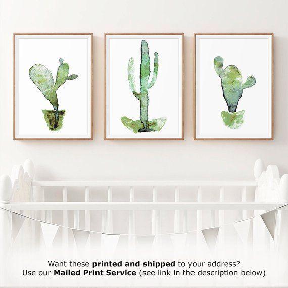Cactus Print Set Of 3 Botanical Print Watercolor Print Etsy Cactus Wall Art Framed Wall Art Sets Botanical Prints