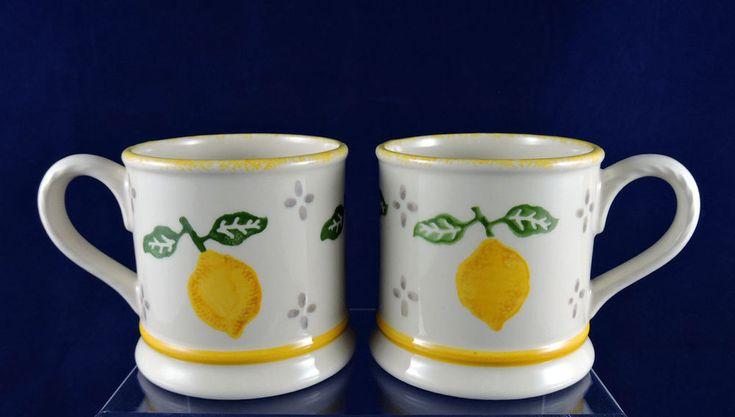 Laura Ashley Summer Fruits Mugs Set of 2 ~ Lemons ~ Hand Decorated ~ England #LauraAshley