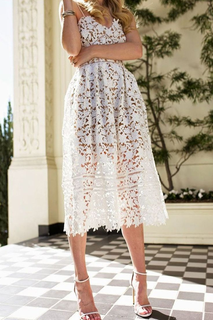 "White Lace Dresses under $100 ""Minka"" White Crochet Lace Fit and Flare Midi Dress"