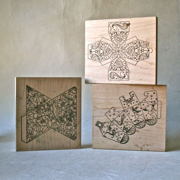 Rubber Stamp Blocks to Create Tiny Gift or Favor Boxes by ReminiscencePapers on Etsy