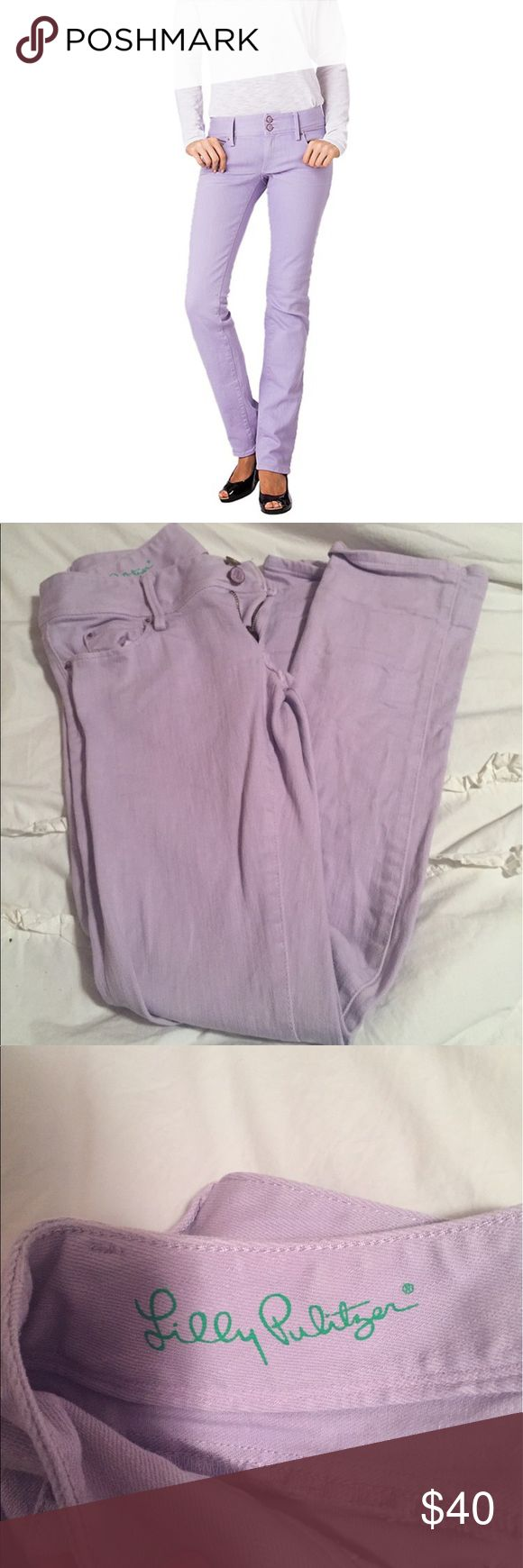 Lilly Pulitzer lavender jeans Spring color in classic Lilly fashion. Detailed pockets, worth straight Jean. Perfect condition Lilly Pulitzer Jeans Straight Leg