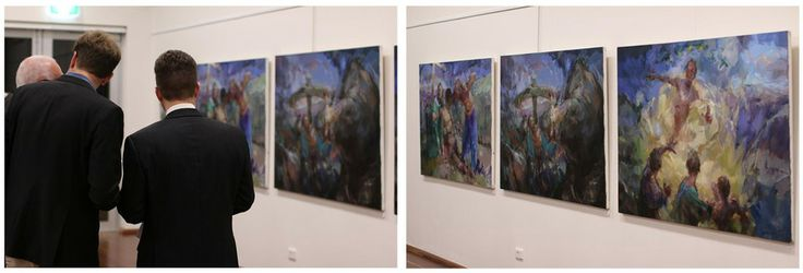 The Triptych hanging in Bob's October 2013 Exhibition 'An Act of Faith'.